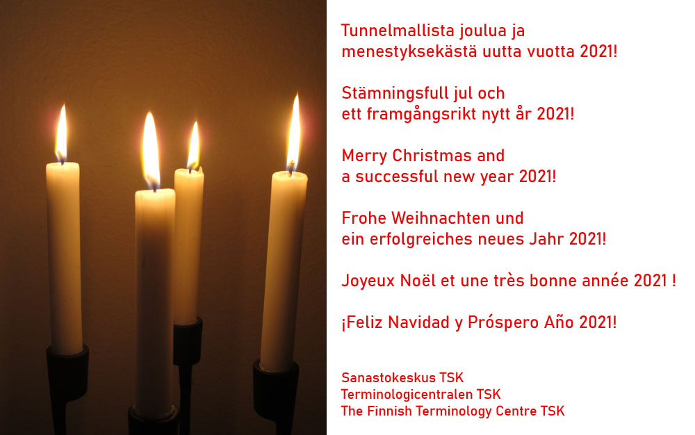 Merry Christmas and a successful new year 2021 wishes The Finnish Terminology Centre TSK